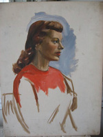 Old Vintage PORTRAIT OIL PAINTING Gorgeous Woman Unfinished for Great Look!