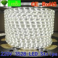 RGB LED Strip 220V IP55 3528 SMD Flexible Ribbon for home Green Blue +PLUG Free Shipping 4M/lot
