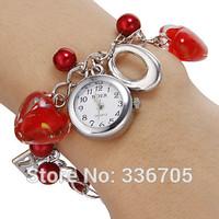 2014 New ArrivalFreeShipping 10pcs/lot Women's White Dial Red Heart Pattern Beads Band Quartz Analog Bracelet Watch35020#