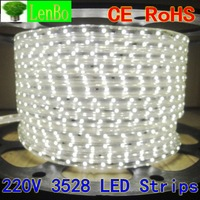 3528 led strip light 60 led/m 220V 240V 4.8W/M Waterproof outdoor 8M/LOT + one plug and clips Free shipping