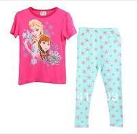 Ship in 5 days! Girls Frozen Sisters Pajama Sets Kids Summer Short sleeve Sleeping suit Children Casual Pyjama 2 colors 95-130cm