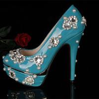 women pumps 2014 NEW ARRIVAL blue rhinestone high heels blue crystal high heel blue bridal wedding shoes pump