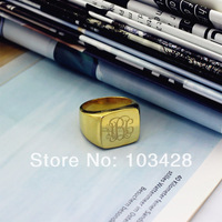 Personalized Engraved Monogram Ring Customized Cut 3 Monogrammed Initials In Square Gold Name Rings