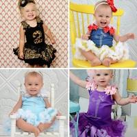 Retail  Lovely baby girls summer clothing set, new style kid girls tops+skirt birthday girl princess skirt,toddler clothing