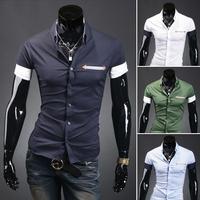 2014 Summer Trigonometric Leather Decoration Stripe Pocket Casual Male Short-Sleeve Shirts