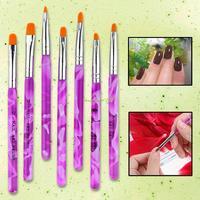 EQ4113 7 UV Gel Acrylic Nail Art Tips Builder Brush Pen Design Nail Tool Free Shipping