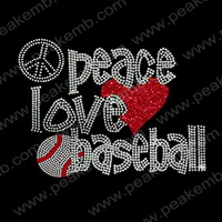 2014 New Design 30Pcs/Lot  Baseball Glitter Transfer Rhinestone Iron On Motif For Garment  Free Dhl Shipping