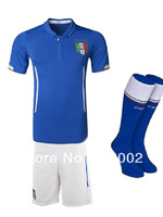 In Stock!! 2014 World Cup Italy Home Blank (jersey+short+sock) soccer Unform, 14 15 Top thailand ITALY football kits