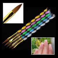 EQ4112 5 Pcs Marble Handle Nail Art Brush UV Gel Acrylic Nail Tool Free Shipping