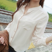 2014 new fashion Women's  tops Clothing Blouses with Pocket button spring Work Wear Chiffon stand OL Shirts Long Sleeve 1361