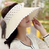 Women's strawhat summer sunbonnet sun polka dot folding large brim beach strawhat