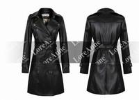 WOMEN PU LEATHER long jacket coat trench parkas outwear black overcoat