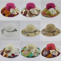 Summer women's big along the cap sunbonnet beach cap sun hat large brim hat fedoras big strawhat gift