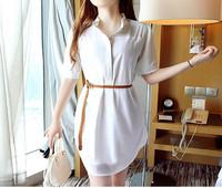 free shipping!New Short-sleeve chiffon one-piece dress summer loose dress Buttoned shirt dress