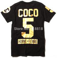 Fashion cotton Unisex Luxury Gold Golden Homme Femme Double CC side Zip Short Sleeve Gift T shirts tee O Neck C C Sport Hip-Hop
