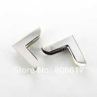 Free Shipping 100 Pcs Silver Tone Metal Book Scrapbooking Albums Menus Folders Corner Protectors 27x19mm(W03438 X 1)