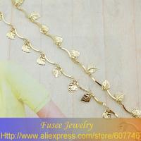 Copper 18K gold plated  chain Leaf pendant necklace  IHZ01068 2pcs/lot