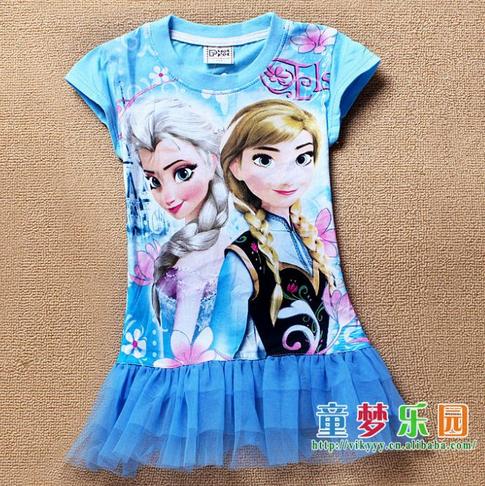 2014 Hot Sale children t shirts Frozen Dress Girl Dress Else Girl Print Dress Brand Kits Dress Wholesale 1lot 6pcs/lot(China (Mainland))