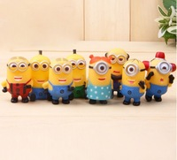 Despicable Me 2 movie Precious Milk Dad UPVC lined vivid minion figure doll for kid 8pcs/lot China cheap toys gift Suppliers