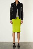WOMENS pu leather sleeve zipper WOOL Jacket COAT TRENCH outwear Windbreaker