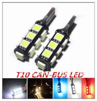 4pcs/lot  Error Free T10 Canbus led W5W 194 5050 13 SMD  LED White Light Bulb Free Shipping Car Led Lamp Bulb Wholesale