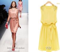 Free Shipping! 2014 New Good quality Slim fit commuter beads chiffon sleeveless vest dress women summer dress