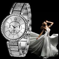 2014 High Quality Full Rhinestones Watches Fashion Women dress watch, Gold Silver Luxury Ladies wristwatches, Female Atmos Clock