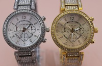 1pc/lot freeshipping hote sale crystal metal band GENEVA watch,high quality alloy metal band and case