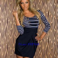 New Fashion Women Autumn Winter Long Sleeve Dress Sailor Blue Striped Mini Casual Dress Clubwear 0027