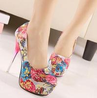 Women's Shoes 2014 High Heels Fashion Pumps for Women rose Flower Shoes Sexy Shoes for Wedding Free Shipping Metal heel SN-114