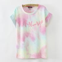 [Magic] Gradient colors women graffiti cotton t shirt good quality summer short sleeve casual t-shirt LBZ8861 free shipping