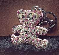 New series latest  Korean crystal rhinestones pony car bag key chain  hanging lady fashion