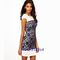 Hot Selling Women Scallop Patchwork Back Zipper Short Sleeve Casual Dress 0029