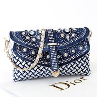 2015 new women's small knitted handbags denim rhinestone day clutch bag one shoulder cross-body bag chain bags