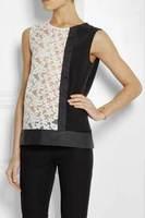 2014 summer new women stitching embroidered organza silk vest