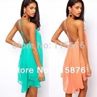 New 2014 Summer Women Clothing Sexy Spaghetti Strap Club Mini Party Dresses Halter Backless Chiffon Beach Dress Vestidos S-XL