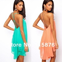 New 2014 Summer Women Clothing Sexy Spaghetti Strap Club Mini Party Dresses Halter Backless Chiffon Beach Dress Vestidos S-XL