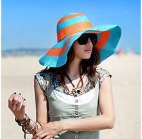 Summer women's big along the cap sunbonnet beach cap sun hat large brim hat fedoras big strawhat bandeaus