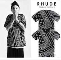 30% off!!! La rhude bandana ktz west coast flowers cashew 2013 fashion brand designer HARAJUKU short sleeve t shirts men