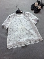 2014 new women summer cotton short-sleeve lace bow blouse doll