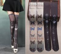 Princess gothic lolita stockings Grimoire vintage angel butterfly classic tattoo Velvet printed stockings over knee high soks