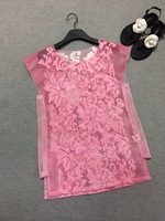 2014 new women summer mesh blouse embroidered patch