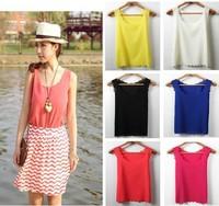 3size Woman Chiffon sleeveless shirt Ladies tank Tops tee plus loose long design vest tank camis 8 Color