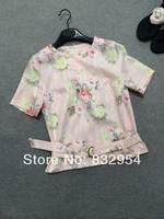 2014 new women summer cotton short-sleeve lace belt short sleeve printing