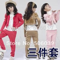kids clothing 2014 spring korea style girls suit long sleeve three-piece lace suit lace decoration set