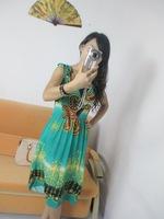 2075 bohemia one-piece dress loose plus size V-neck high waist flower one-piece dress sleeveless tank dress