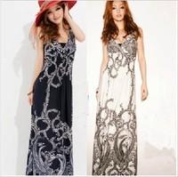 8606 bohemia phoeni the anteroposterior V-neck sexy full dress beach dress plus size one-piece dress