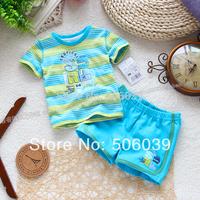 new type Summer boy suit male baby suit short sleeve T-shirt+pants infant children suit
