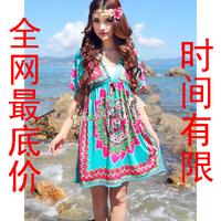 2072 beach dress bohemia loose plus size national trend female one-piece dress