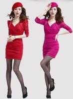 2013 autumn women's long-sleeve V-neck lace sexy elegant slim hip 8672 one-piece dress
